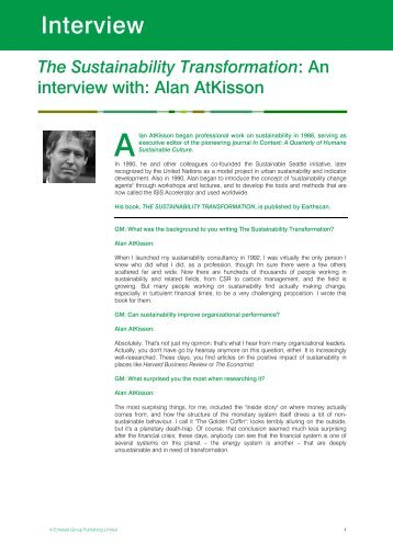 The Sustainability Transformation: An interview with: Alan Atkisson