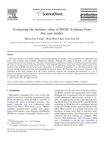 Evaluating the business value of RFID: Evidence from five case ...