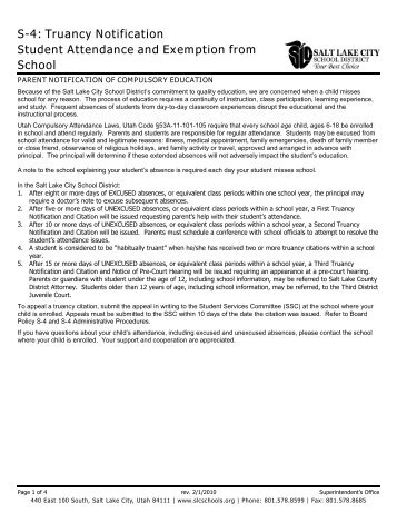 S-4: Truancy Notification Student Attendance and Exemption from ...