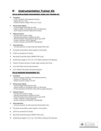 8- Instrumentation Trainer Kit