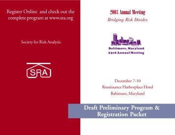 Preliminary Program - The Society for Risk Analysis