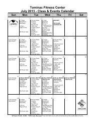 Tominac Fitness Center July 2013 - Class & Events Calendar Sun ...