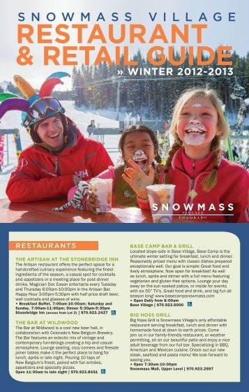 RESTAURANT & RETAIL GUIDE - Snowmass Village