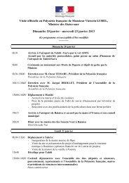 Programme public de la Visite Officielle en PF du Ministre des Outre ...