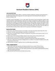 Assistant Resident Advisor (ARA) Job Description - Boyce College