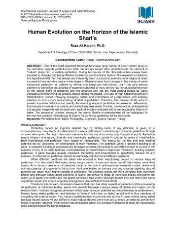 Human Evolution on the Horizon of the Islamic Shari'a - irjabs