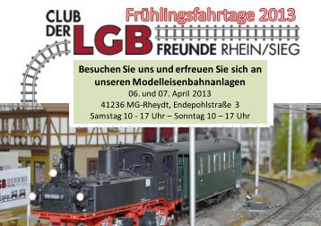 Frühlingsfahrtage 2013 - LGB Club Rhein / Sieg