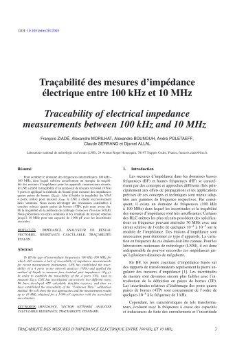 Traçabilité des mesures d'impédance électrique entre 100 kHz et 10 ...