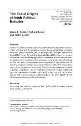 The Social Origins of Adult Political Behavior - UC San Diego