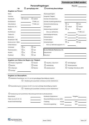 personalfragebogen minijobs - Personalfragebogen Muster