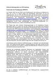 Stellungnahme der Projektgruppe Zervita zur HPV-Impfung