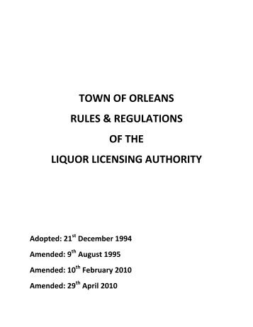 Revised Rules and Regulations - Town Of Orleans