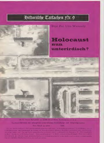Historische Tatsachen Nr. 09: Udo Walendy - Holocaust nun ...