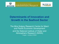 Determinants of Innovation and Growth in the Seafood Sector