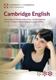 Cambridge Zertifikate helfen Ihnen, Studienbewerber mit der ...