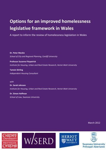 Options for an improved homelessness legislative framework in Wales