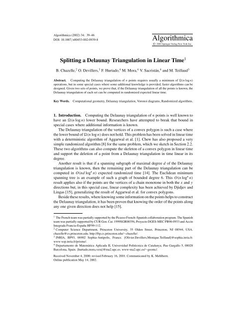 Splitting a Delaunay Triangulation in Linear Time - Princeton ...