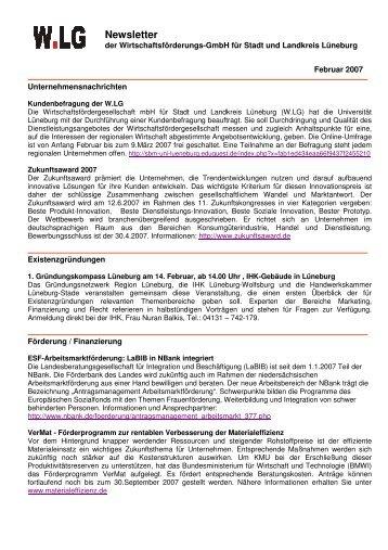 Newsletter - 2007-02-09 - Wirtschaftsforum Lüneburg eV