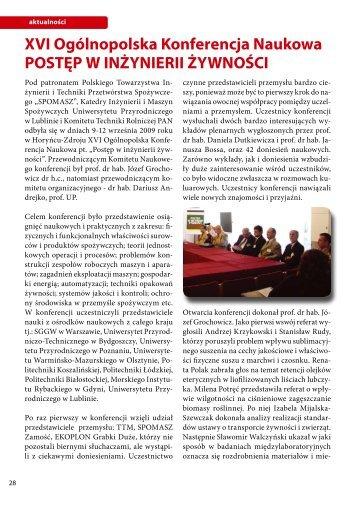 XVI Ogólnopolska Konferencja Naukowa POSTĘP W INŻYNIERII ...