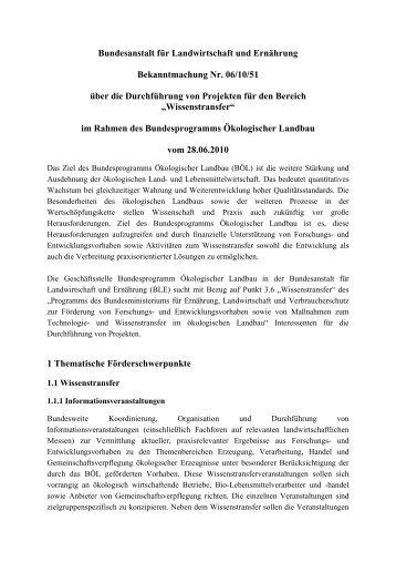 Bekanntmachung Nr. 06/10/51 über die Durchführung von Projekten ...