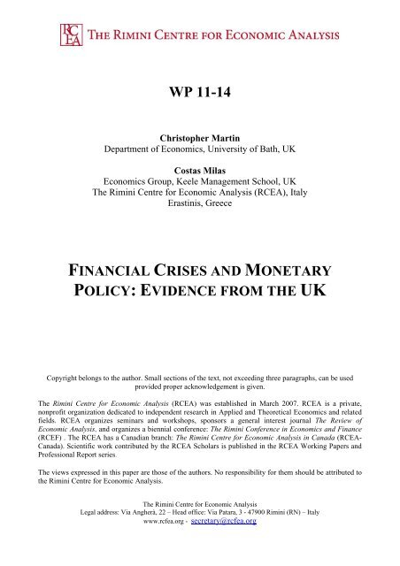 Financial Crises and Monetary Policy: Evidence from the UK