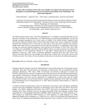 a Reusken 2011 - European Mosquito Bulletin Journal of the ...