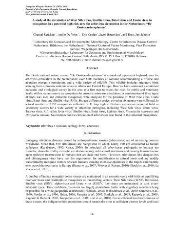 a Reusken 2011 - European Mosquito Bulletin Journal of the ...