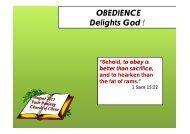 OBEDIENCE Delights God - Pasir Panjang Church of Christ Singapore