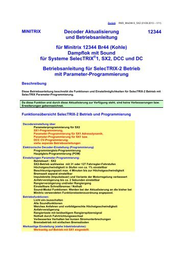 Betriebsanleitung SX2 - DH Fahrzeugdecoder