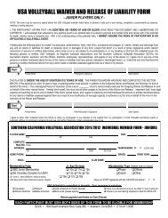 usa volleyball waiver and release of liability form - Southern ...