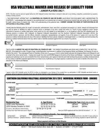volleyball medical This form is to be carried to all sanctioned competitions & practices 2017-2018 season revised 7/18/2017 usav youth & junior volleyball player medical release form.