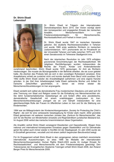 Dr Shirin Ebadi Lebenslauf Internationaler Demokratiepreis Bonn