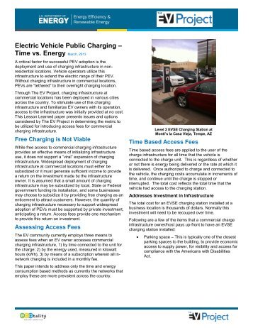 Electric Vehicle Public Charging – Time vs. Energy ... - The EV Project
