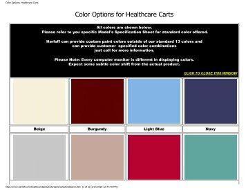 Color Options, Healthcare Carts - 1stSeniorCare