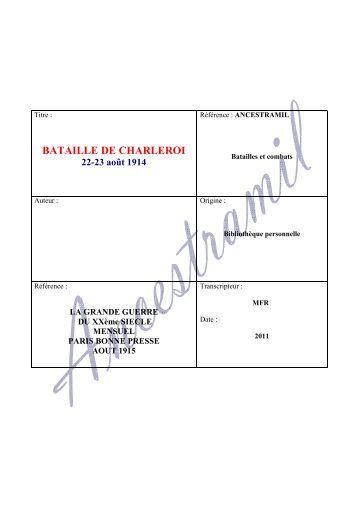 BATAILLE DE CHARLEROI - Ancestramil