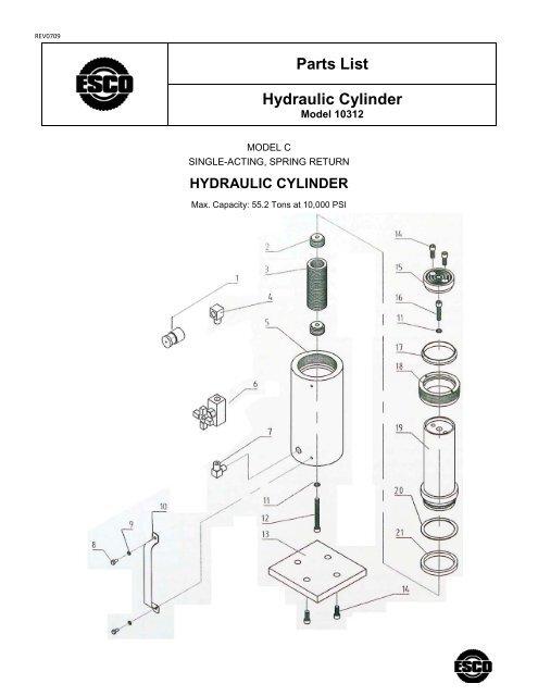 Parts List Hydraulic Cylinder - Esco