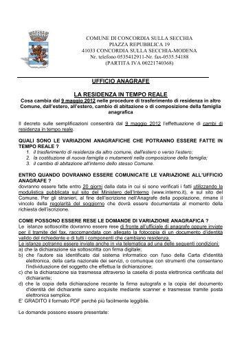 Guida alla residenza in tempo reale - Comune di Concordia Sulla ...