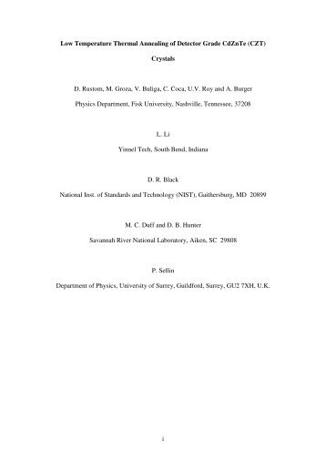 i Low Temperature Thermal Annealing of Detector Grade CdZnTe ...