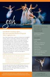 INtErNAtIONAL StUDENt PrOGrAM - Goh Ballet Academy