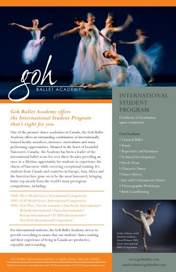 INtErNAtIONAL StUDENt PrOGrAM - Goh Ballet Academy