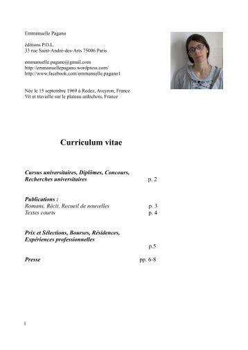 Curriculum vitae - Emmanuelle Pagano