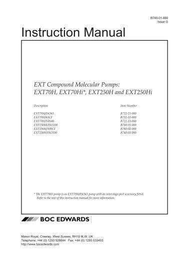 Instr Manual: EXT Compound Molecular Pumps: EXT70H ... - Edwards