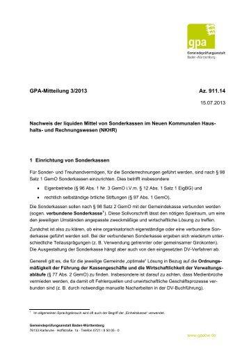 Nachweis der liquiden Mittel von Sonderkassen im Neuen ...