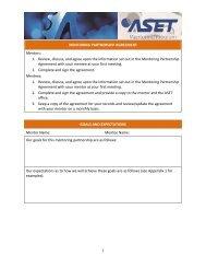 MENTORING PARTNERSHIP AGREEMENT Mentors: 1 ... - ASET