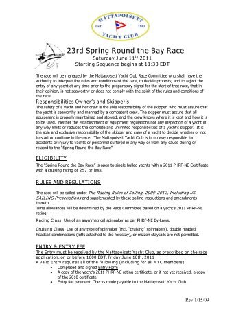 23rd Spring Round the Bay Race - Mattapoisett Yacht Club