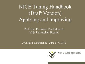 NICE Tuning Handbook (Draft Version) Applying ... - Nice-network.eu