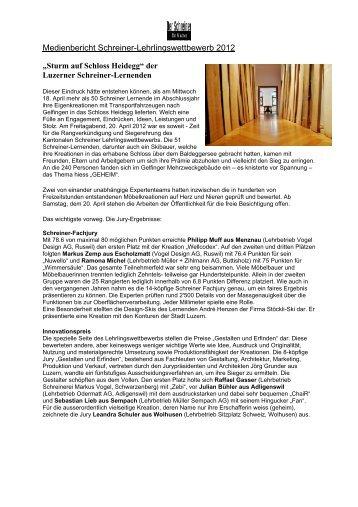 Lehrlingswettbewerb 2012 - beim Verband der Luzerner Schreiner