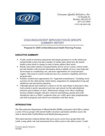 CHILD/ADOLESCENT SERVICES FOCUS GROUPS SUMMARY ...