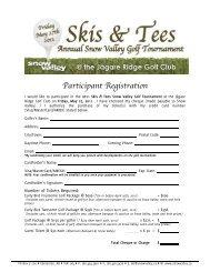 Participant Registration - Snow Valley