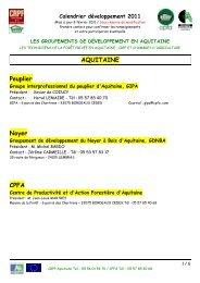 Calendrier développement - Le Centre Régional de Propriété ...